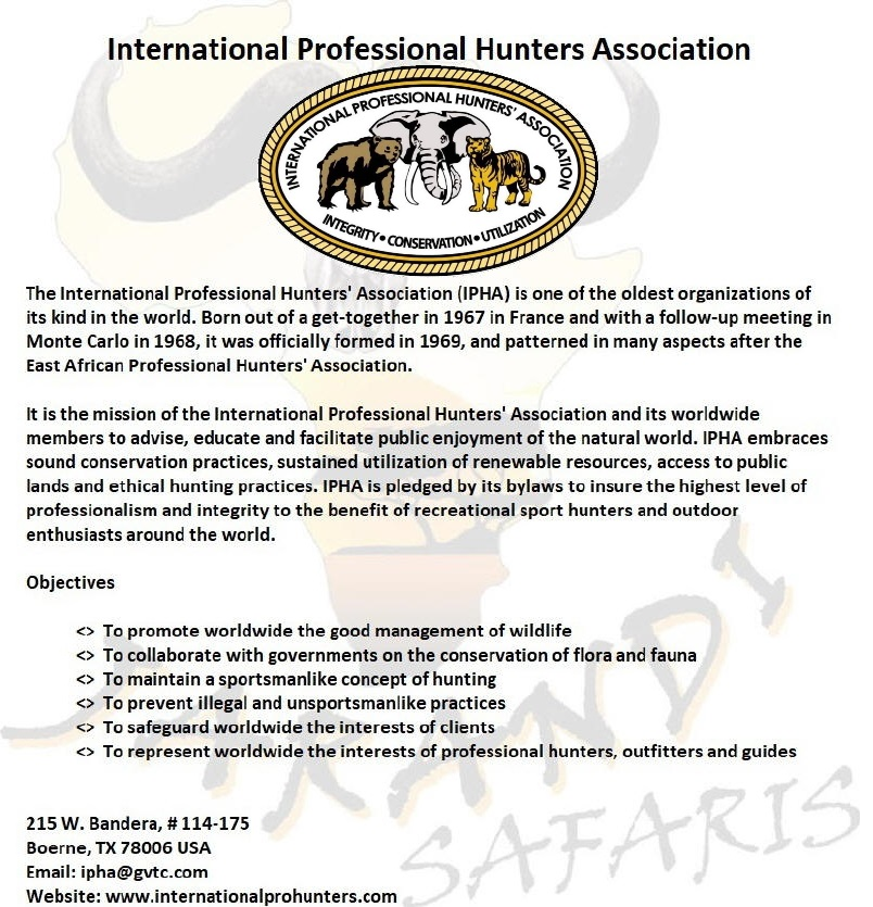 Proud member of the International Professional Hunters Association